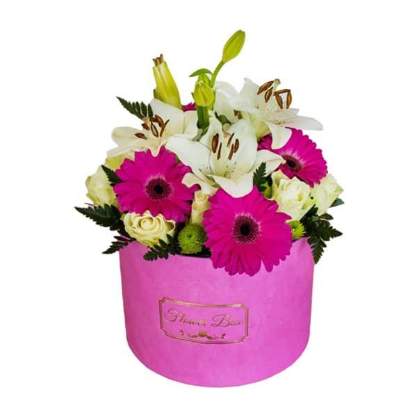 flower box roze gerber